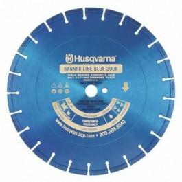 "Husqvarna 14"" Standard Blue 200B Banner Line  Hard Concrete Wet Saw Blade-542751031"