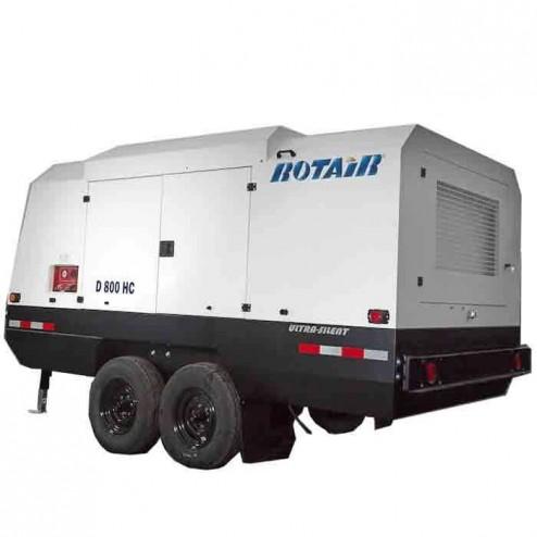 Rotair D800HC 800 cfm Portable 264 HP Turbocharged Diesel Powered Air Compressor