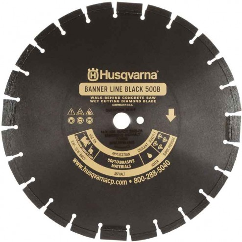 "Husqvarna 36"" Standard Black 500B-R Banner Line  Asphalt Wet Saw Wide Notch Blade-542751084"